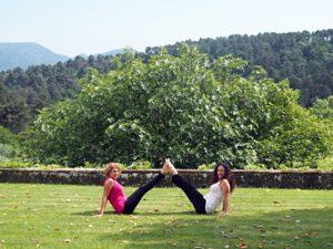 Doing Yoga at the Tuscan Villa.