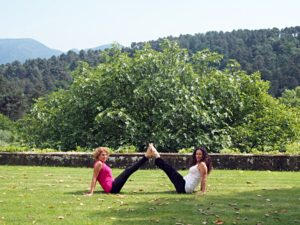 Doing Yoga at the Tuscan Villa.