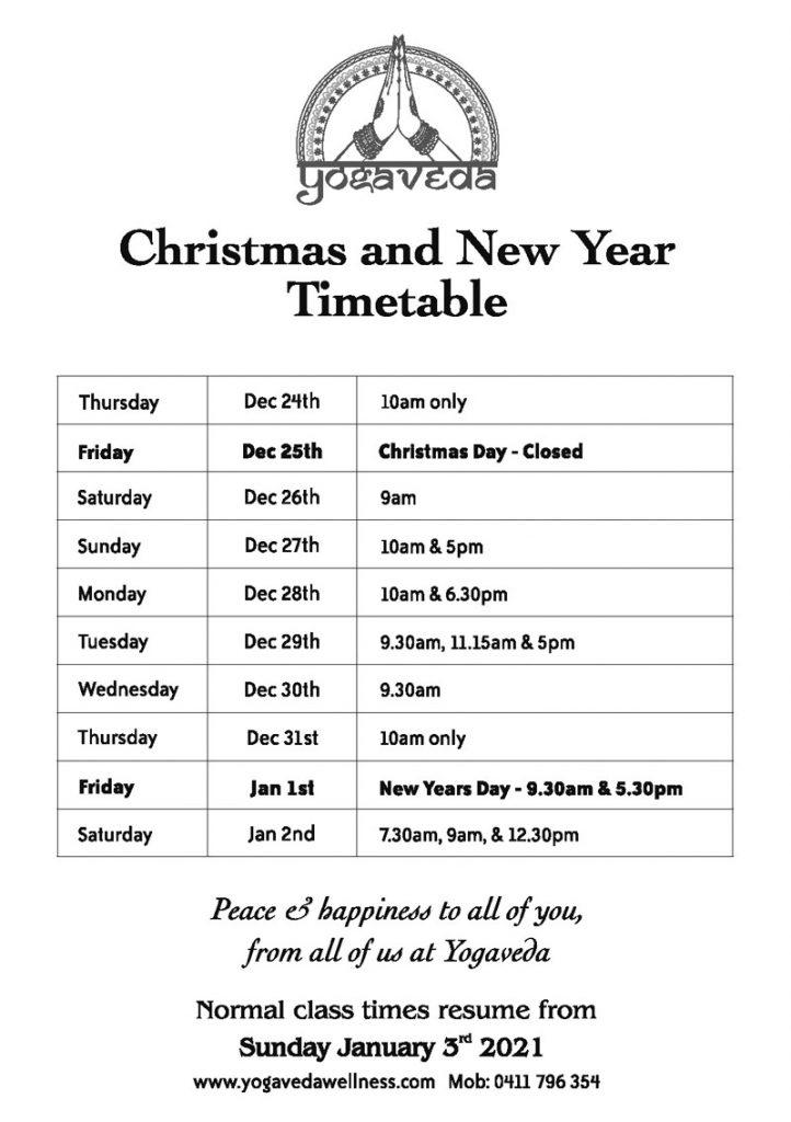 Christmas Timetable 2020